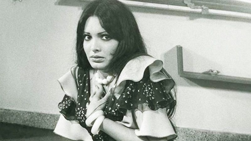 A Black and White Photo of Parveen Babi