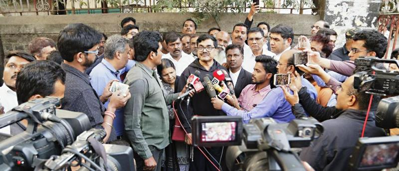Anand Teltumbde interacting with media after his release by a Pune Court