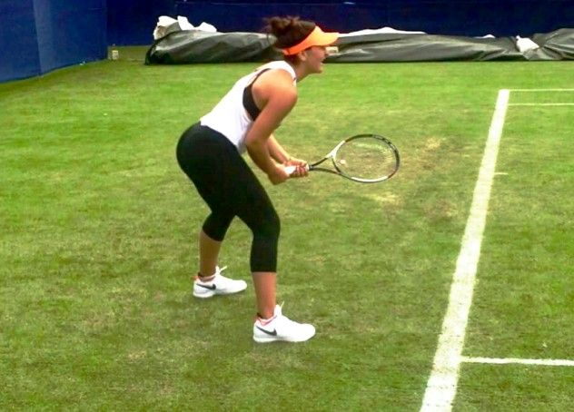 Bianca Andreescu during a practice session