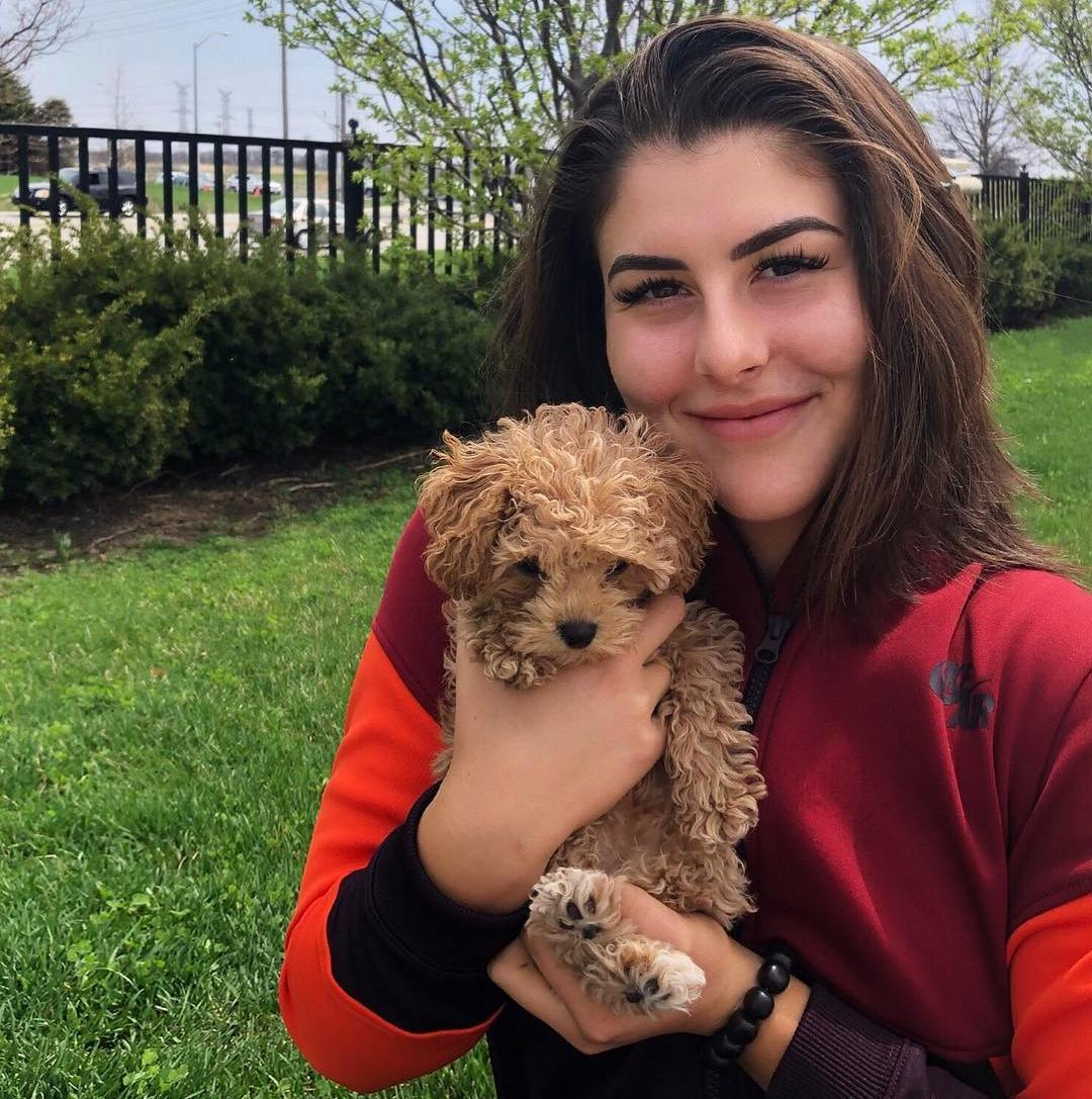 Bianca Andreescu with her pet dog Coco