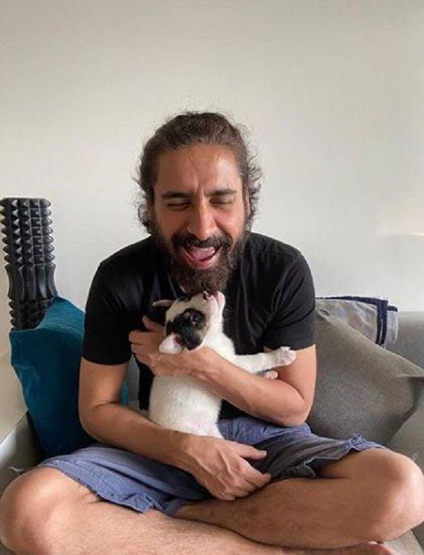 Chandan Roy Sanyal With His Pet Dog