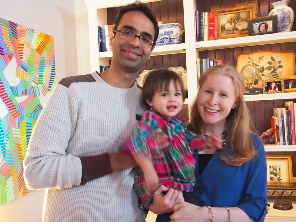 Karan Bajaj with his first daughter Leela