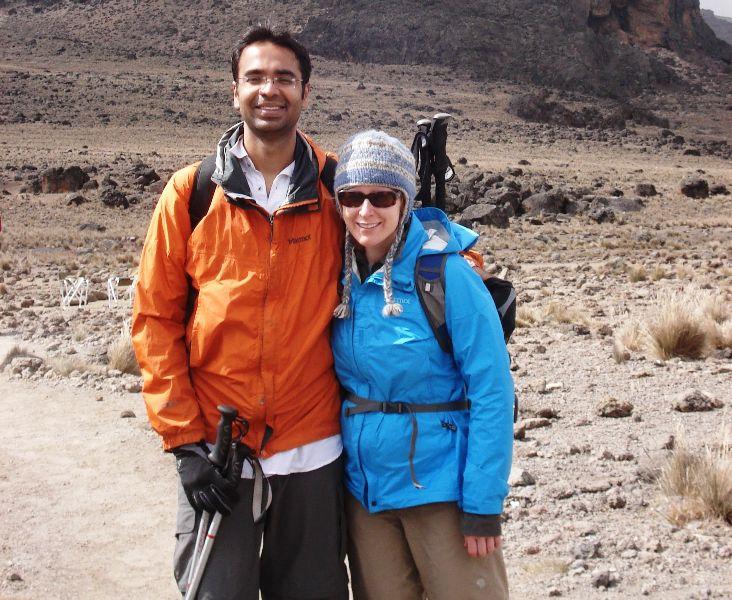 Karan Bajaj with his wife in the Himalyas