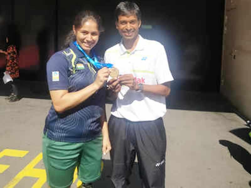 Manasi Joshi with Her Coach- P. Gopichand