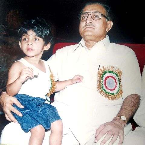 Sana Ganguly with her paternal grandfather