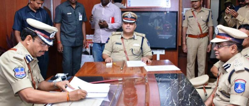 V C Sajjanar taking charge as the Cyberabad Police Commissioner