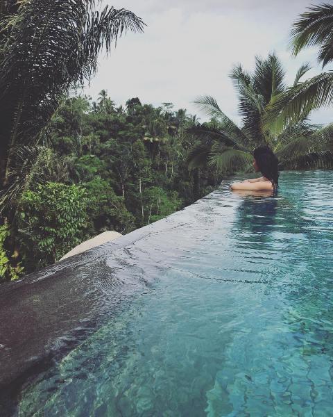 Vini Raman inside the pool