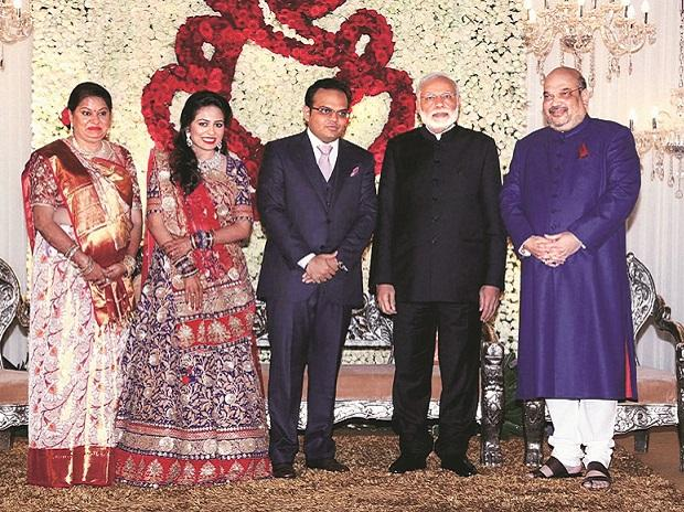From left (Jay's mother), (Jay's wife), Jay Shah, Narendra Modi, and Amit Shah at Jay Shah's wedding
