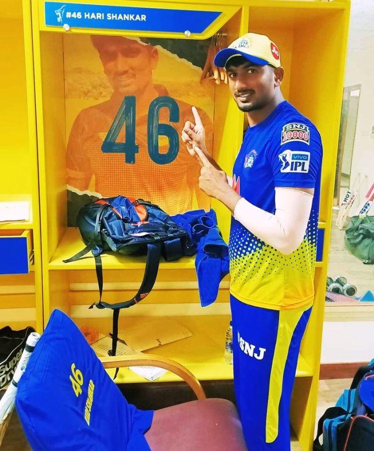 Harishankar Reddy posing in front of his wardrobe inside CSK's dressing room