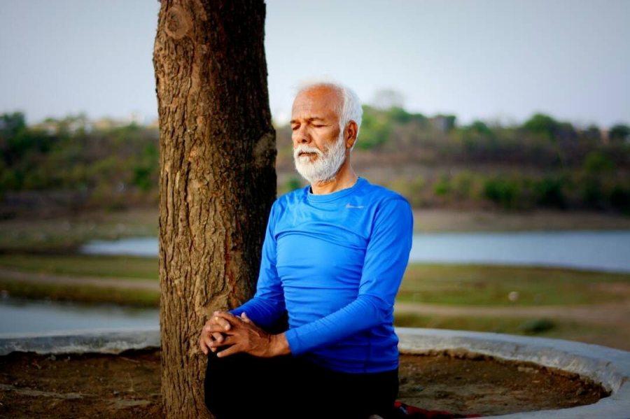 Jalaj Saxena's father, Ghanshyam Saxena, practicing meditation