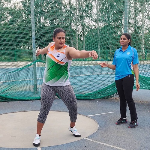 Kamalpreet Kaur during her training session
