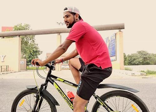 Lalit Yadav enjoying a cycle ride