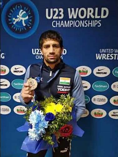 Ravi Kumar after winning a silver medal in the 2018 U23 World Championship