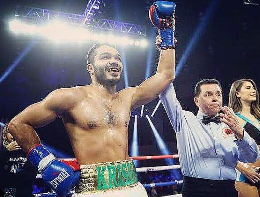 Vikas Krishan Yadav after winning a boxing match