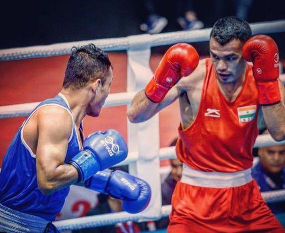 Vikas Krishan Yadav during a boxing tournament