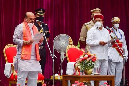 Basavaraj Bommai during the oath-taking ceremony