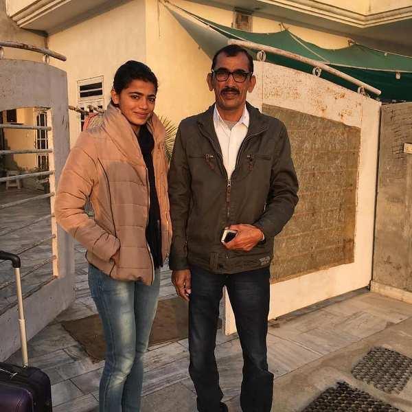 Savita Punia with her father