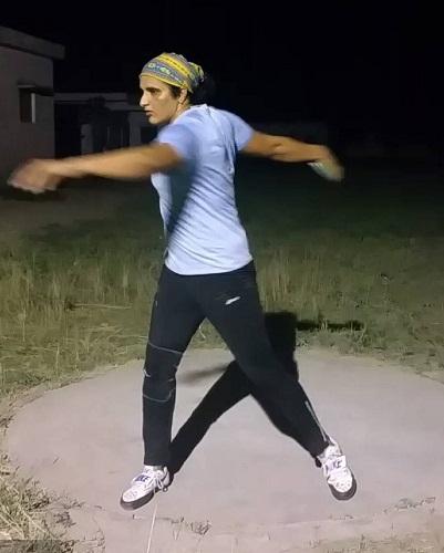 Seema Punia while practising Discus Throw