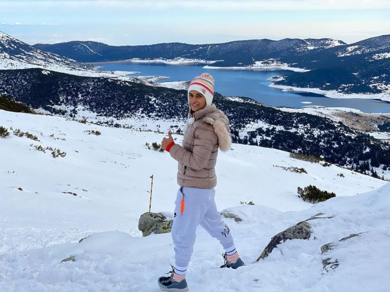 Vinesh Phogat posing for a picture while on a foreign tour