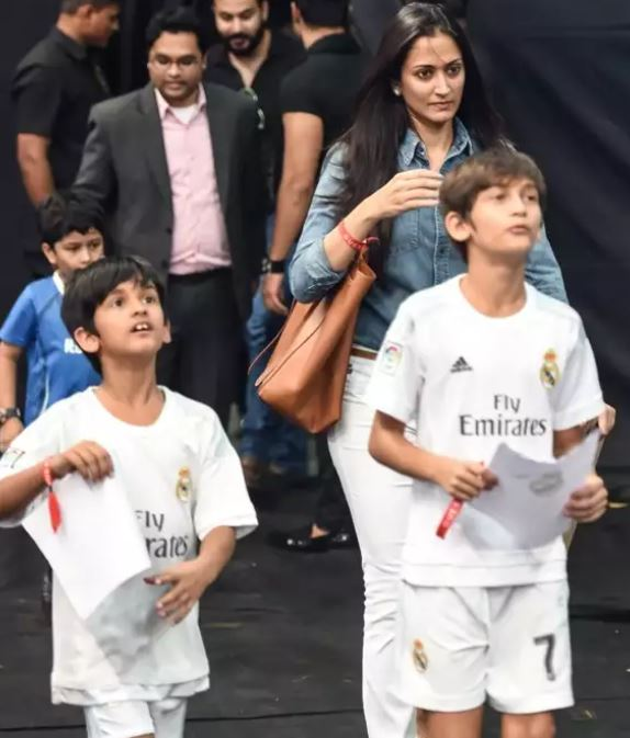 Gayatri Joshi with her two sons (both in white)
